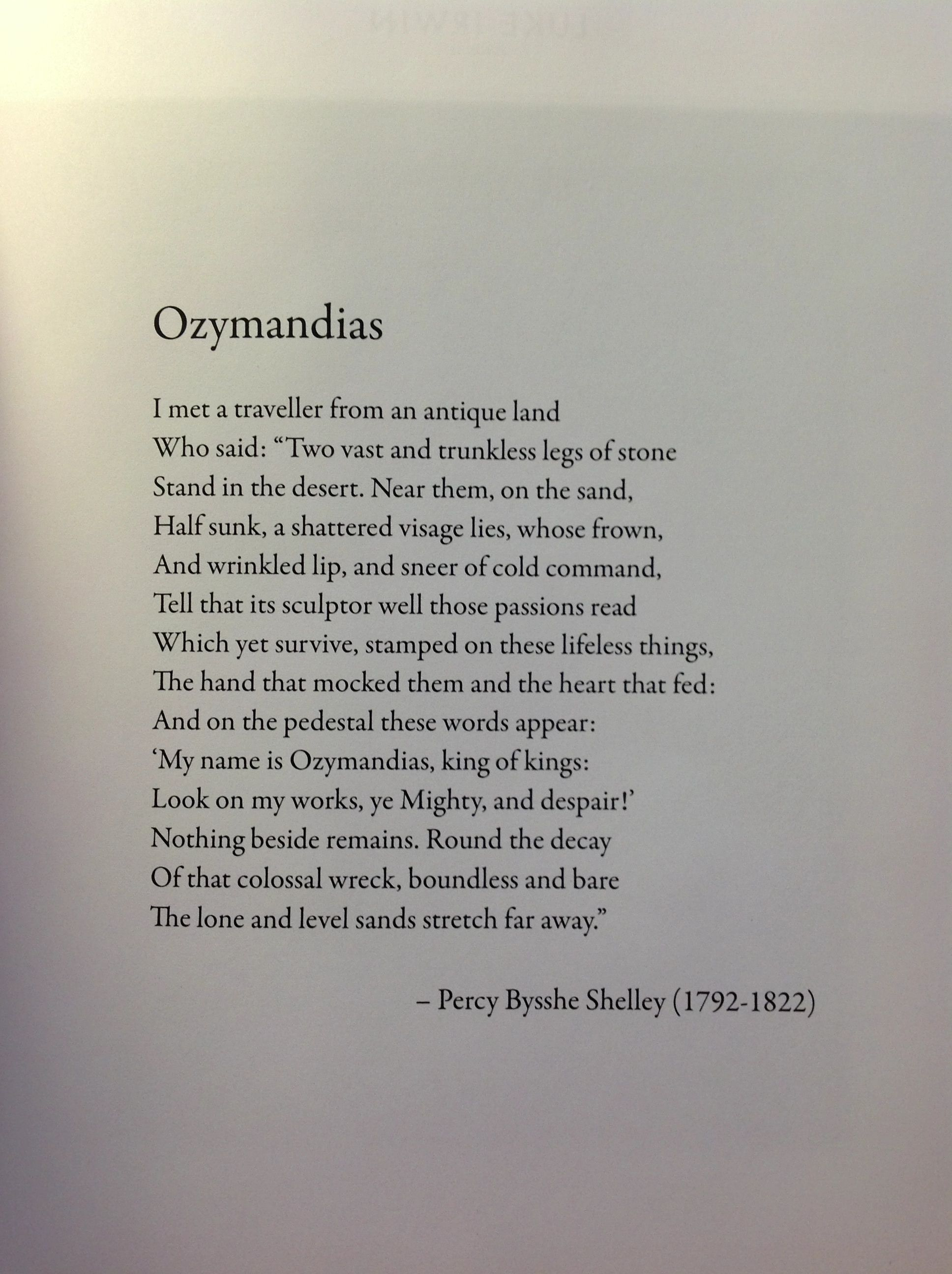 compare and contrast ozymandias poems by smith and shelly Ozymandias stanzas written in dejection near  stanzas written in dejection near naples  beautiful day to which his melancholy is in contrast.