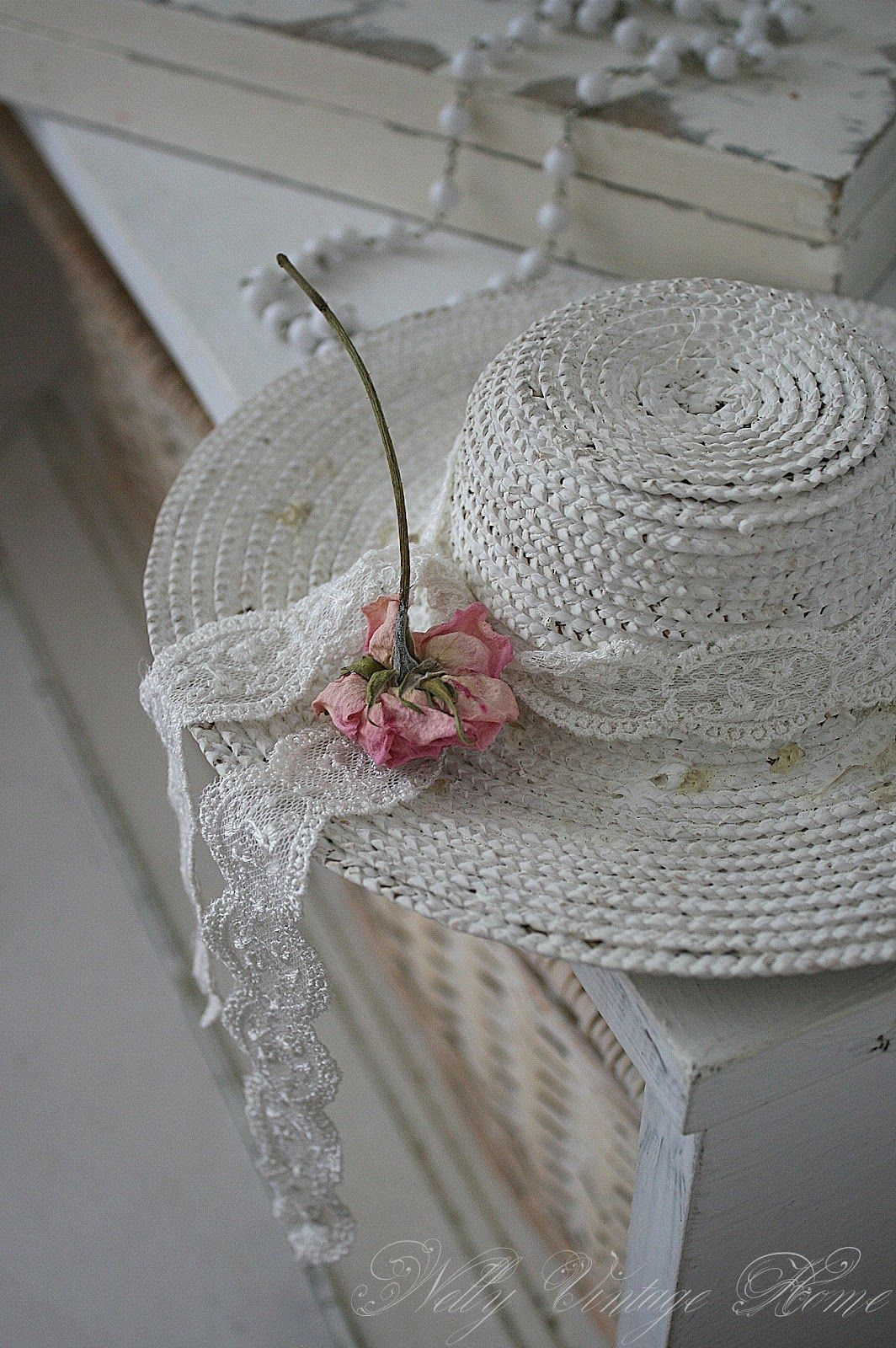 7ac53bce04f Shabby Chic hat. Take an old straw hat