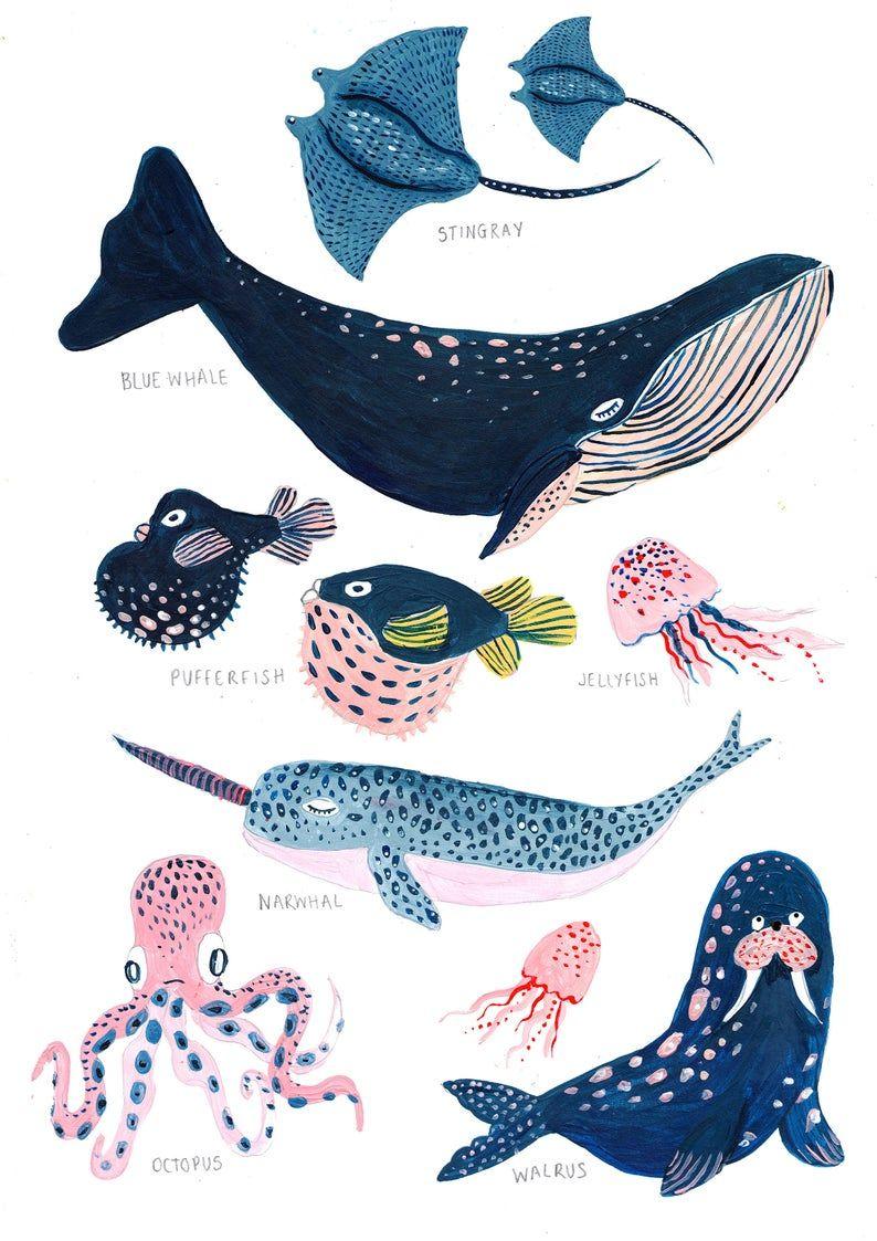 Unter dem Meer / Set von zwei / Kindergarten Wandkunst / Wal / | Etsy