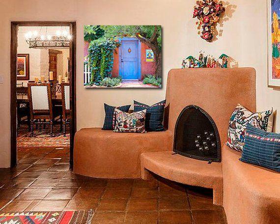 Southwest Blue Door Art Print Santa Fe Wall Decor Etsy Southwestern Home Decor Mexican Home Decor Southwest Decor