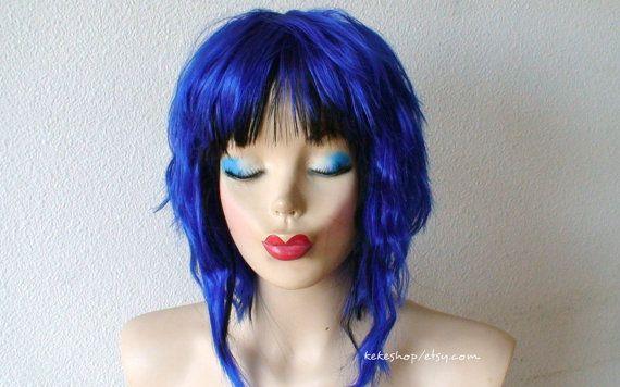 Short Blue Wig Cosplay Wig Blue Wig Short Wig Custom Wig