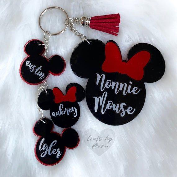 Mama Mouse Keychain  Minnie Keychain  Mama Minnie and babies