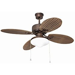@Overstock - Includes 5-inch downrod and 54 inches of wire  Materials: Steel, glass, electrical components  Number of blades: Fourhttp://www.overstock.com/Home-Garden/Outdoor-Rubbed-Bronze-Two-light-Ceiling-Fan/6165581/product.html?CID=214117 $160.99