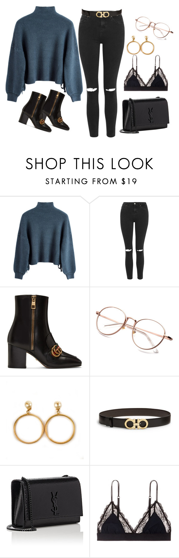 """Untitled #151"" by futurling ❤ liked on Polyvore featuring Topshop, Gucci, Chanel, Salvatore Ferragamo, Yves Saint Laurent and LoveStories"