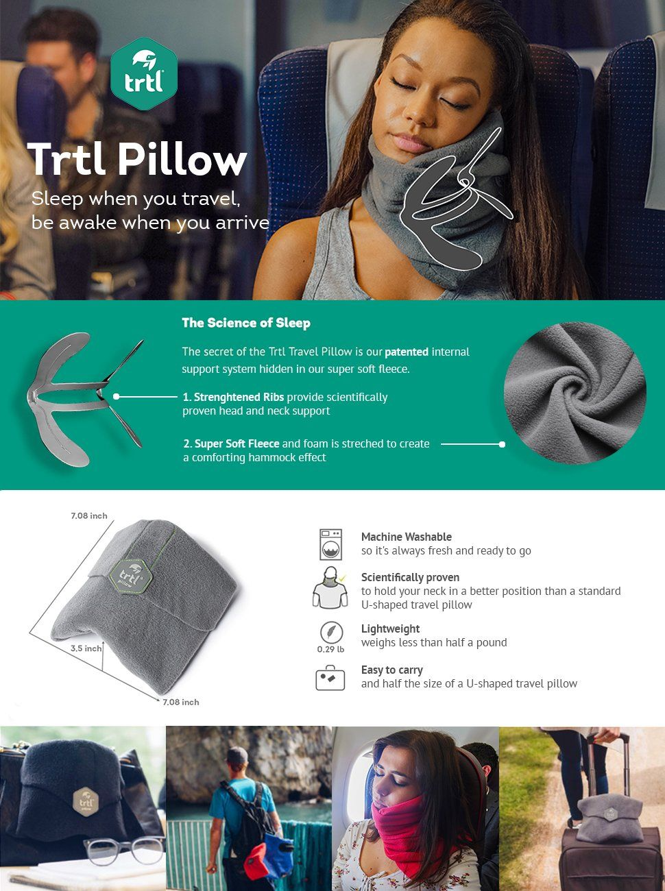 Home Design U-neck Travel Support Pillow Part - 29: AmazonSmile: Trtl Pillow - Scientifically Proven Super Soft Neck Support  Travel Pillow U2013 Machine Washable