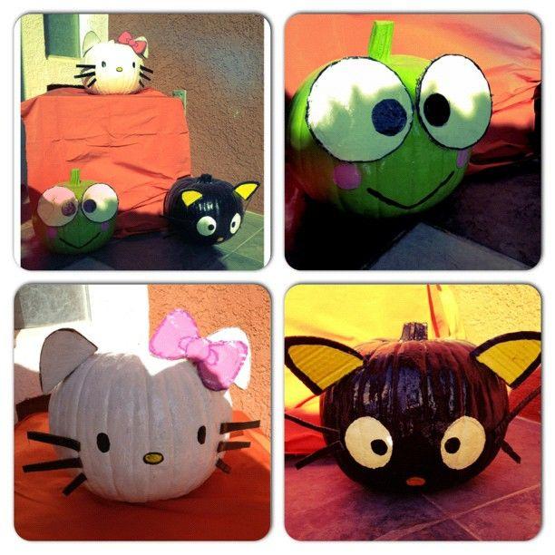 My Sanrio themed pumpkins Hello kitty, Keroppi and Chococat Made - hello kitty halloween decorations