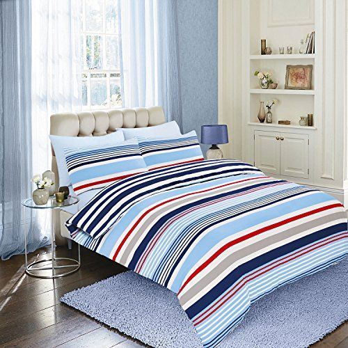 King Size Duvet Quilt Cover Bedding Set Nautical Stripe Blue Sorbon Striped Ashley Mills Http
