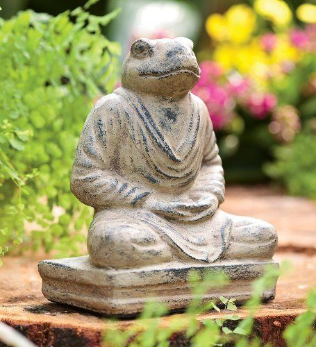 Garden Decor   Cast Stone Meditating Frog Garden Sculpture Outdoor Garden  And Patio By Wind
