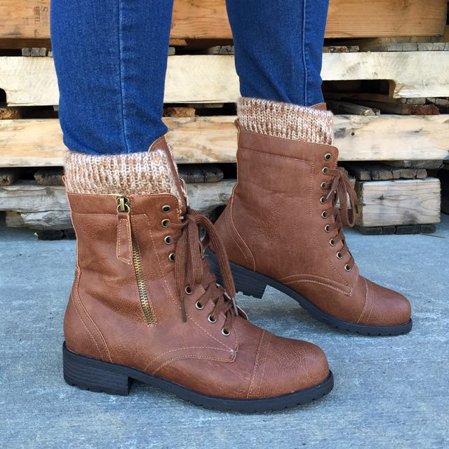 32063e9527c66 Cold Combat Sweater Cuff Boots | BOOTS in 2019 | Shoes, Cute combat ...