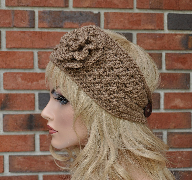 Crochet Ear Warmer, Brown or Pick your color, Womens Crochet ...