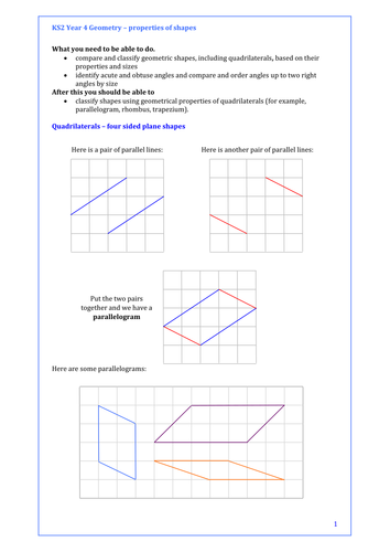 Maths Ks Year  Properties Of Shapes  Quadrilaterals  Lots Of