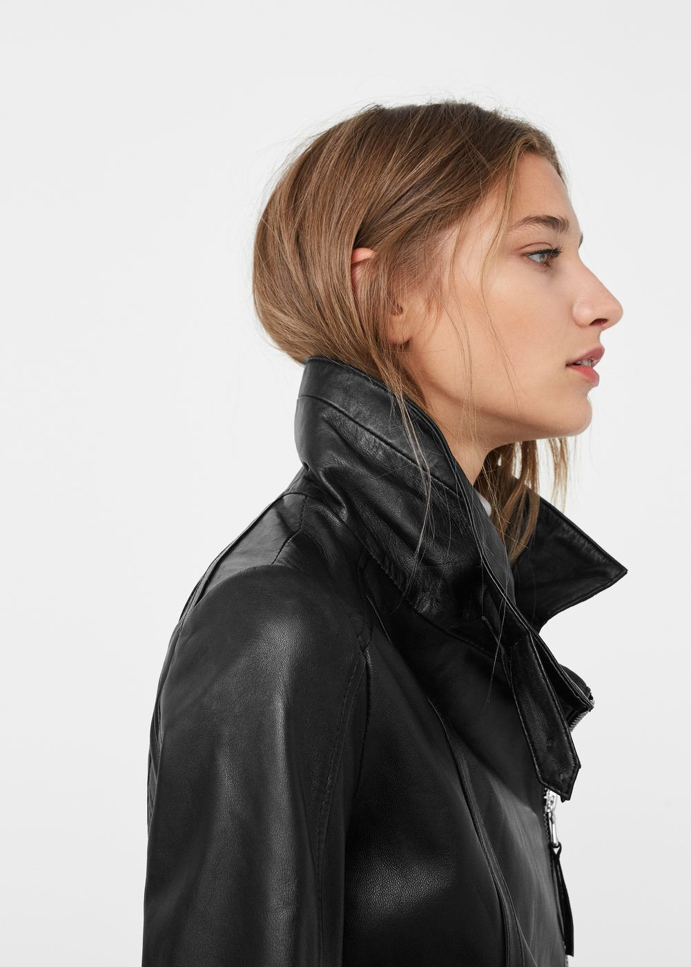 763e2f9945d Zip-detail leather biker jacket - Women