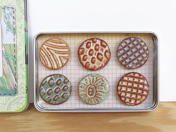 Rustic Clay Fridge Magnet Set Of 6 Ceramic Magnet Set Pottery Ornaments Clay Decorative Pottery
