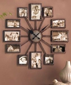 Large Multi Photo 12 Picture Photos Collage Wall Frame Clock 2 Diameter Unique Wall Decor Home Clock Photo Wall Clocks