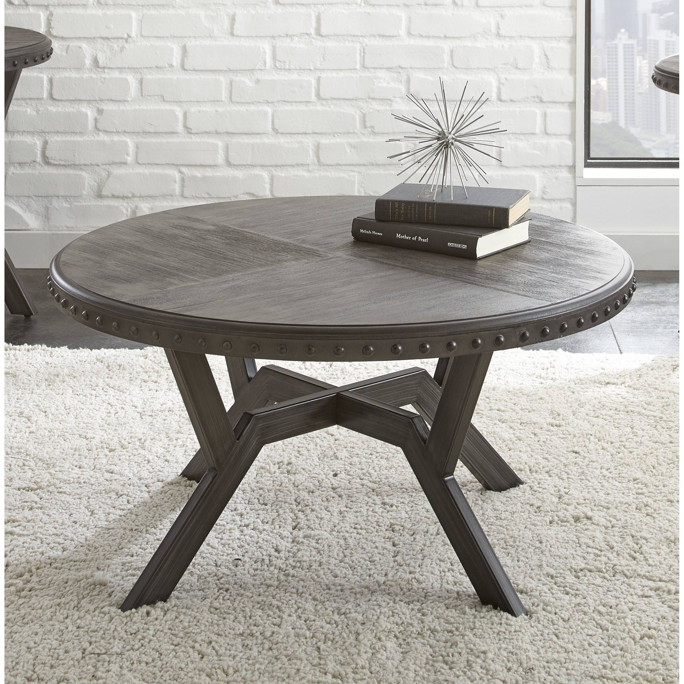 Avilla Grey Wood/Metal 36 Inch Round Industrial Coffee Table By Greyson  Living (Avilla Coffee Table)