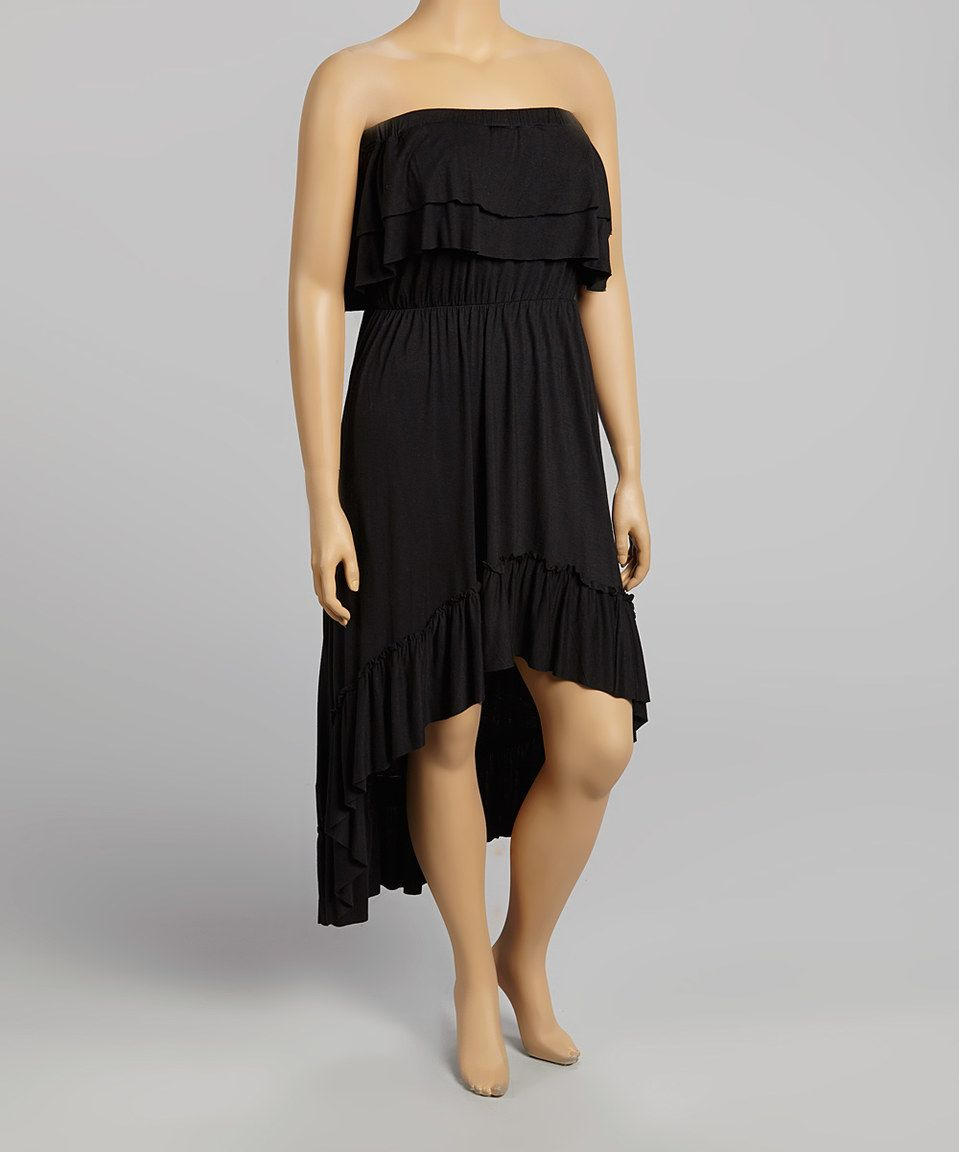 Another Great Find On Zulily Black Ruffle Strapless Dress Plus By Poliana Plus Zulilyfinds Strapless Ruffle Dress Dresses Ruffle Sleeveless Dress [ 1152 x 959 Pixel ]