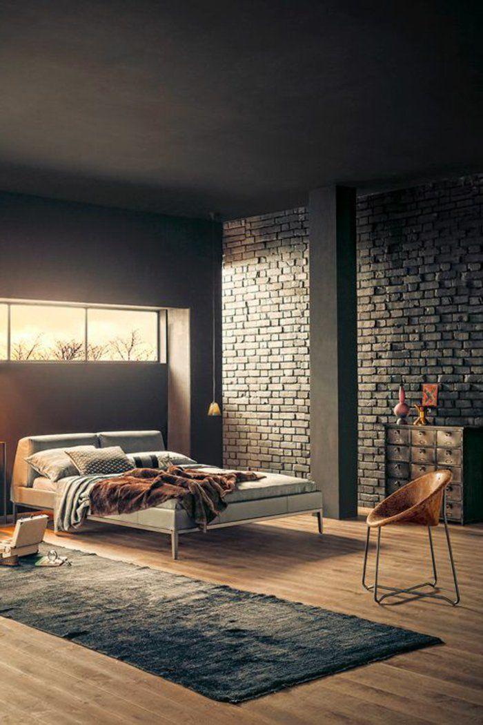 Le mur en brique d cors spectaculaires - Mur brique noir ...