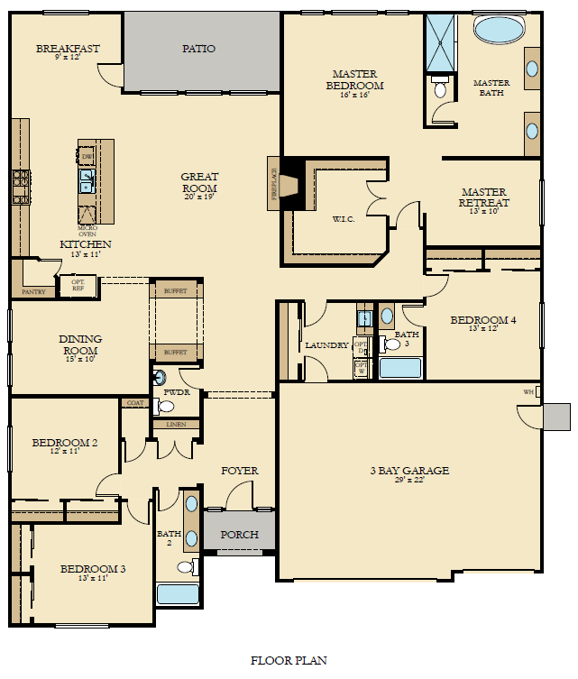 Single Level 3 050 Square Foot Floorplan With 4 Bedrooms 3 Bath And 3 Bay Garage This Floorplan Amenities Include A L Floor Plans New House Plans House Plans