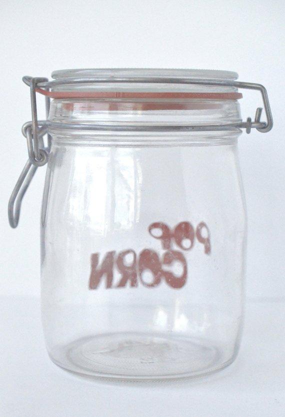 Vintage Triomphe France 3 4l Typographic Red Popcorn Gl Jar W Flip Lid