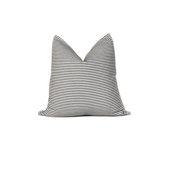 Black and White Ticking Stripe Pillow Cover | Striped Pillow | Farmhouse Pillow | No4089