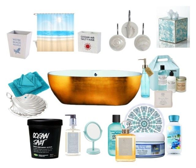 """Beach Bathroom"" by saffron-rose on Polyvore featuring interior, interiors, interior design, home, home decor, interior decorating, Bumble and bumble, Antica Farmacista, Paddywax and Möve"