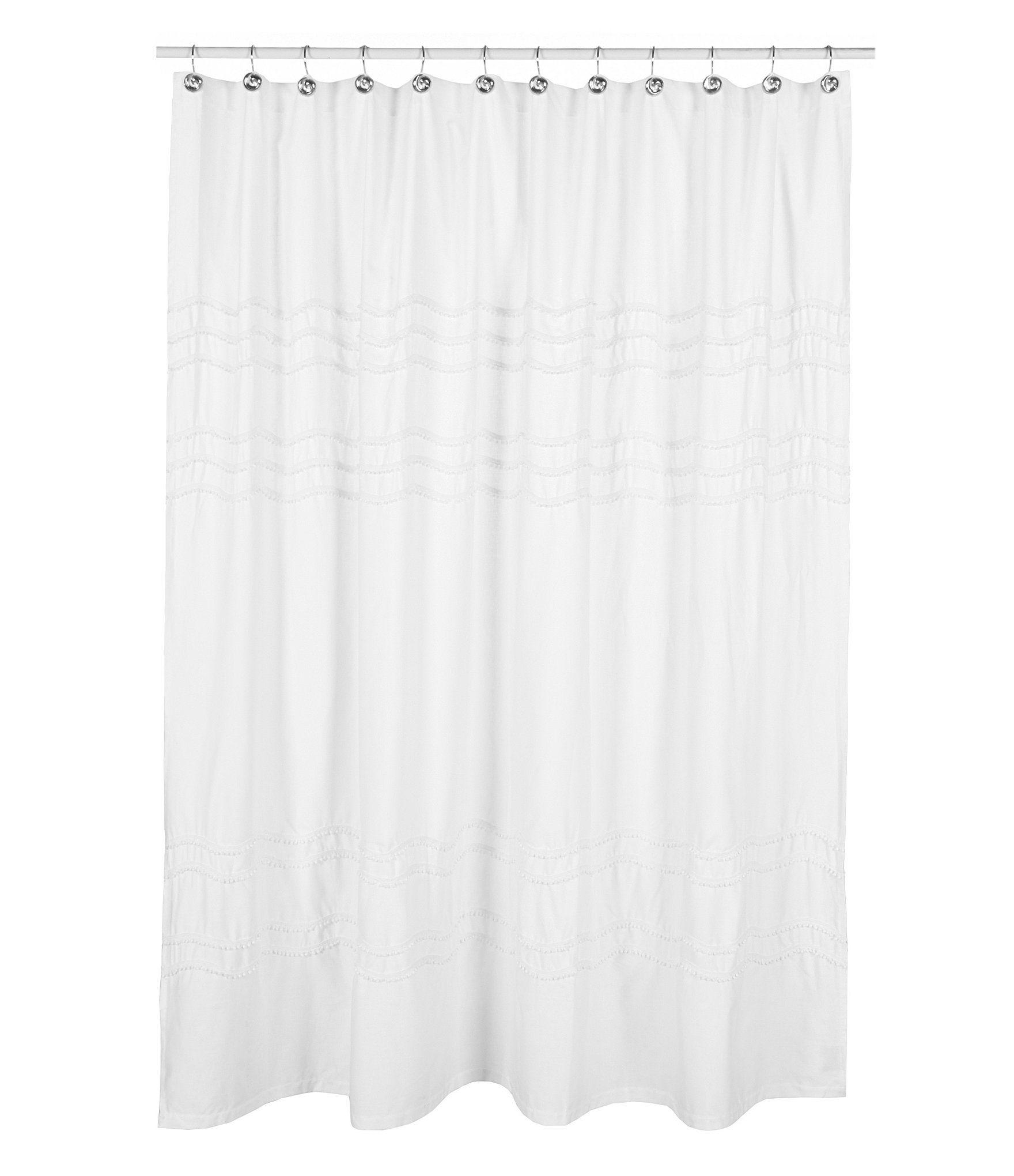 Captivating Southern Living Chantilly Chevron Pom Pom Linen Shower Curtain