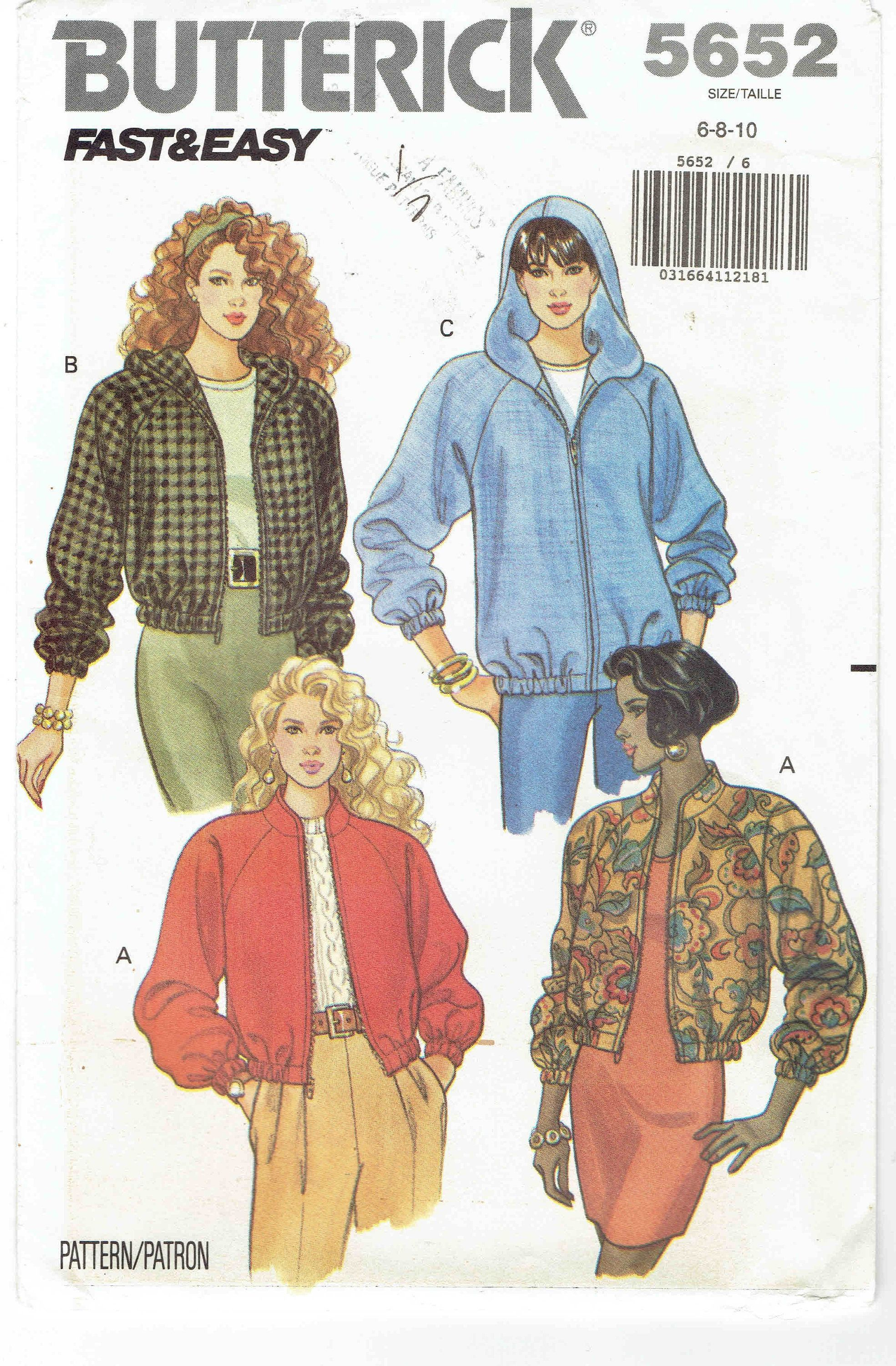 Women S Bomber Jacket Pattern Butterick 5652 Uncut Sizes 6 8 10