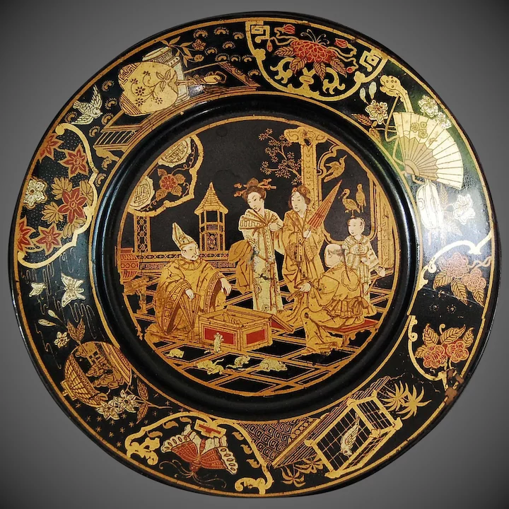 Victorian English Paper Mache Chinoiserie Plate