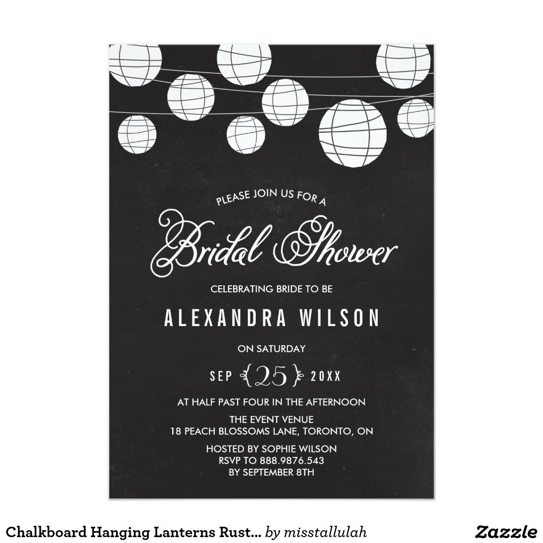 Chalkboard Hanging Lanterns Rustic Bridal Shower Invitation ...