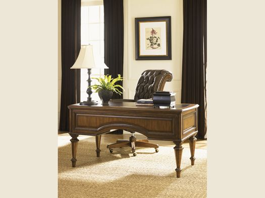 Breckenridge - Cascade Desk CHAIR, Item: 147BR-938-01,  tufted inback, brown leather, Briarwood finish,  (© 2011 Lexington Home Brands)