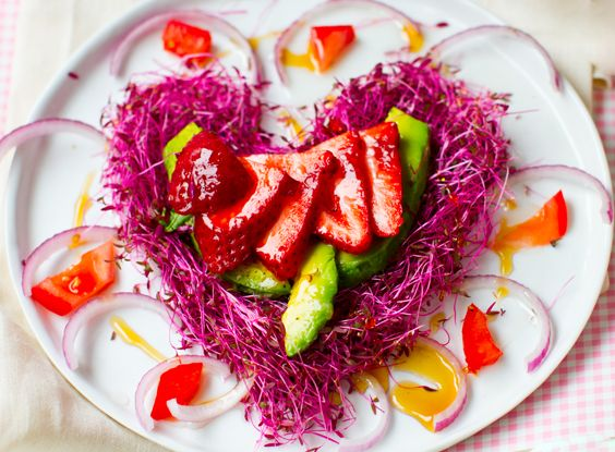 So pretty! Strawberries + Avocado: Pink Heart Salad. - Healthy. Happy. Life. @Kathy Patalsky