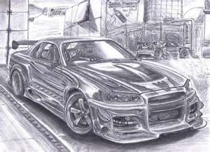Nissan Skyline GTR34 StreetArt by ~Faik05 on deviantART