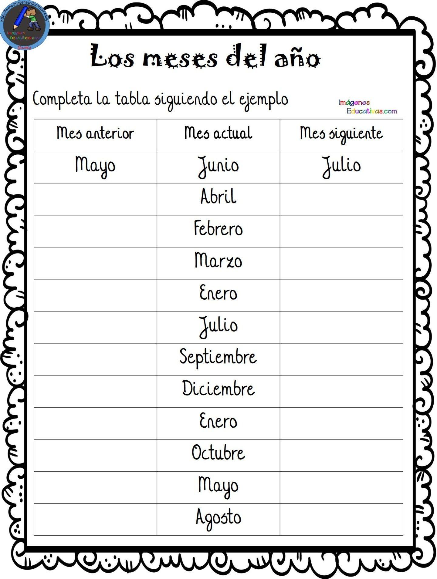 Fichas Para Aprender Los Meses Y Los Dias De La Semana 4