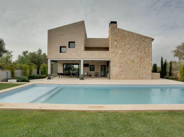 Fachada piscina Muros de piedra Fachada de piedra Fachadas de