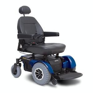 The Jazzy 1450 features a front-wheel drive and a swingarm suspension giving you the smoothest drive possible for a power chair with a 600 lb. weight capacity.
