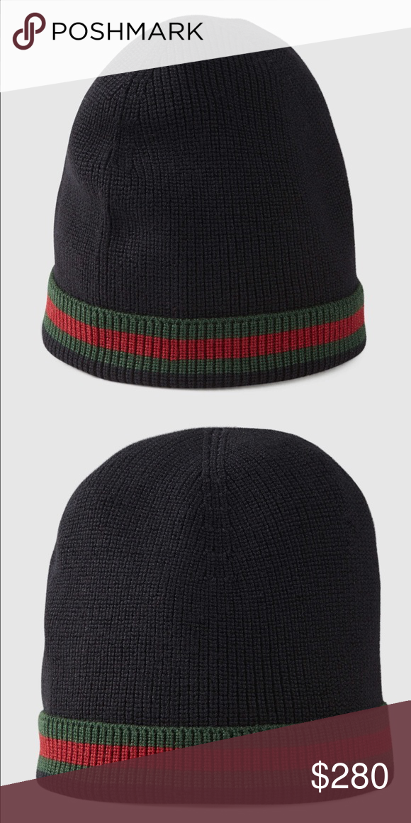 Gucci Skully ( Large ) Style 206085 4G869 1066 DESCRIPTION • Black wool  with green red green signature Web • 70% wool and 30% silk • Made in Italy  Gucci ... aed11177871