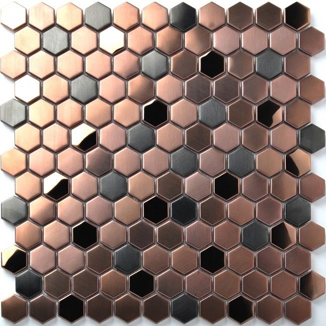 Best Hexagon Stainless Steel Brushed Mosaic Tile Bronze Copper 400 x 300