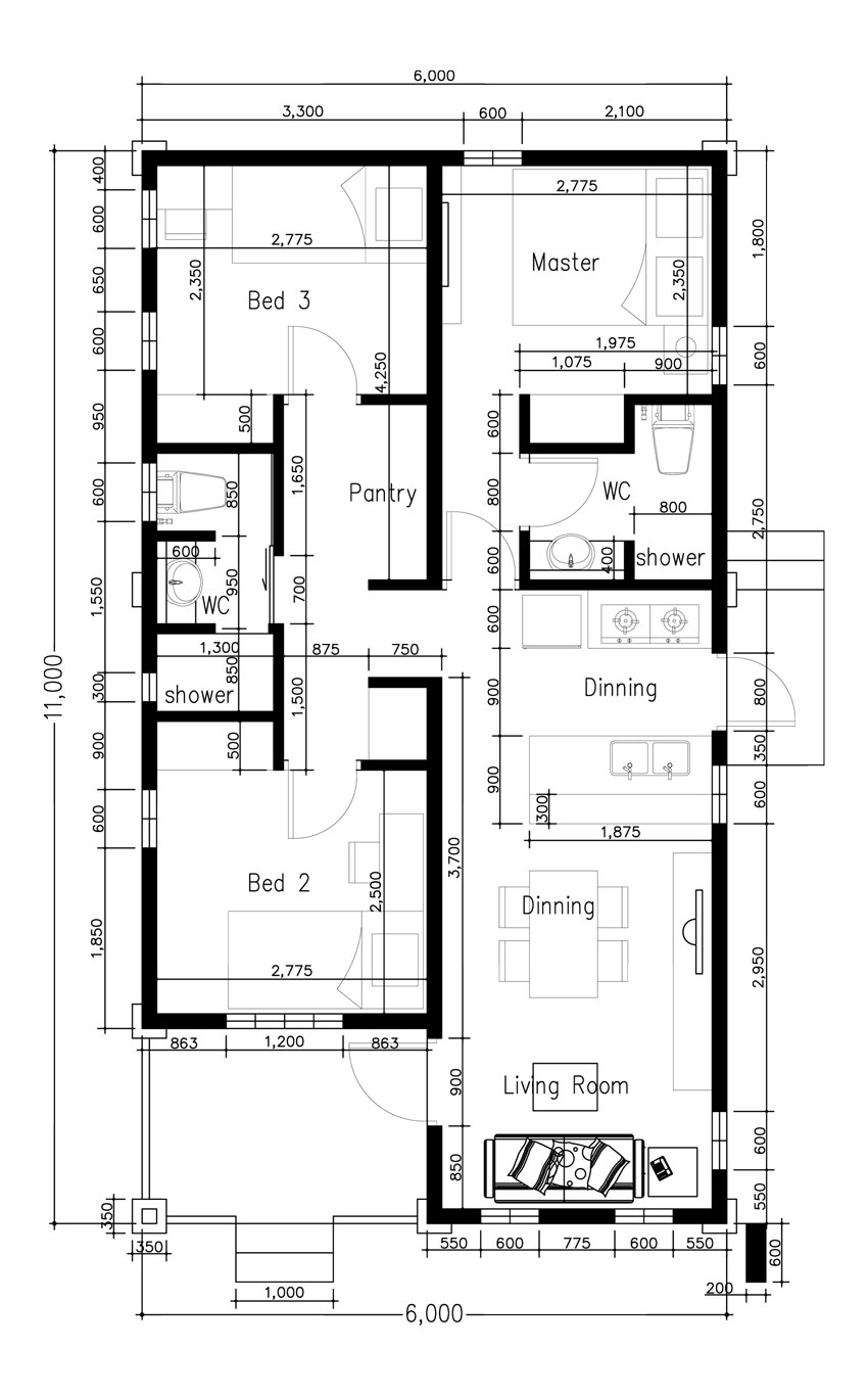 Small Home Plan With 3 Bedrooms Cool House Concepts Small Home Plan House Layout Plans House Plans