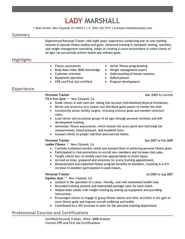 Personal Trainer Resume Sample Places to Visit Resume examples