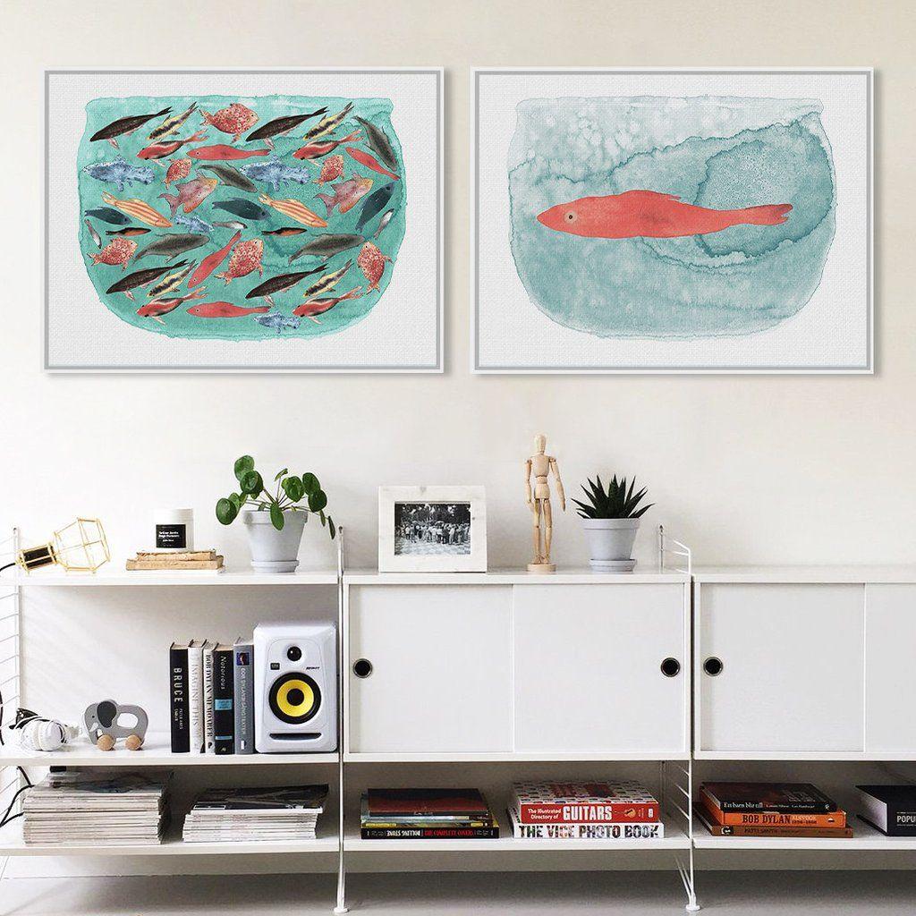 Watercolor Sea Fish Tank Art Prints Poster Cartoon Animal Living ...