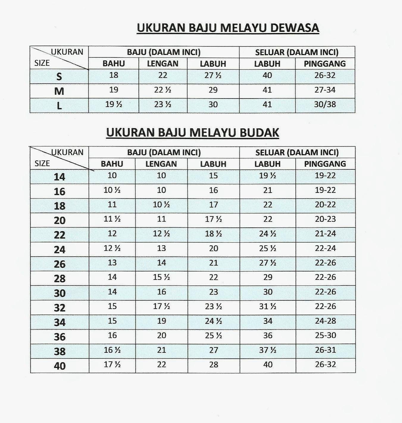Ukuran Baju Gamis Dewasa