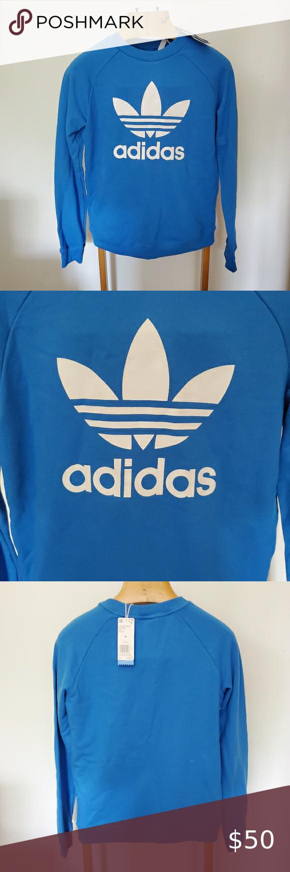 Adidas Blue Trefoil Crewneck Sweatshirt M Blue Adidas Crew Neck Sweatshirt Adidas Sweater [ 1740 x 580 Pixel ]