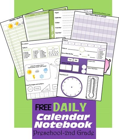 FREE Daily Calendar Notebook for PreK- 2 Grade Calendar notebook - daily calendar