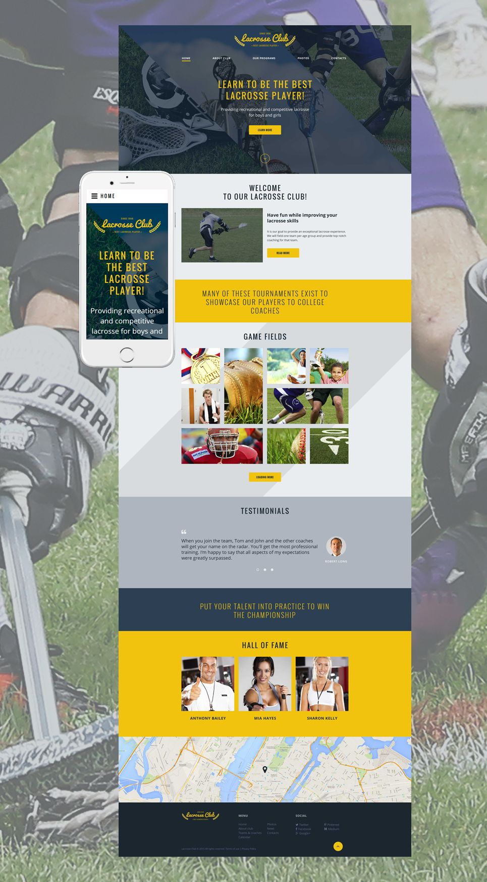 Lacrosse Club Website Template Fashion Template Site