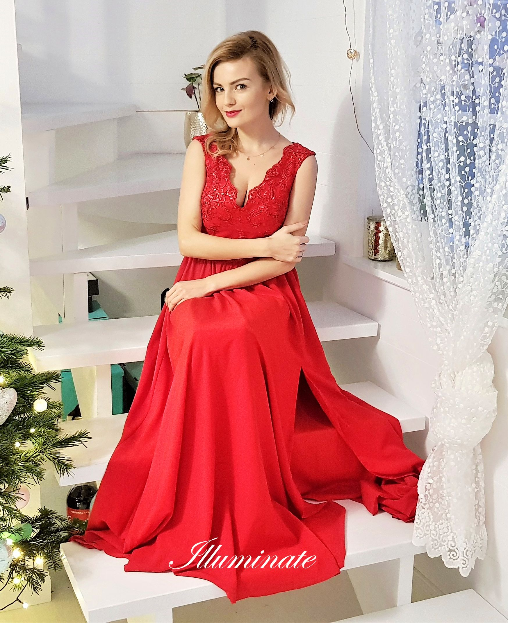 6502392c19 Maxi red dress Julia - gt  illuminate.pl Piękna długa czerwona suknia na  studniówkę