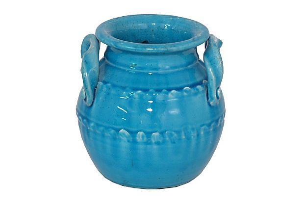 Ceramic Planter w/ Handles, Blue on OneKingsLane.com