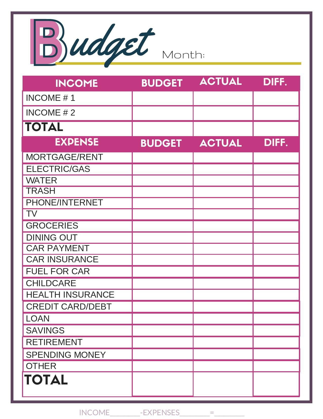 Free Budget Worksheets With Images
