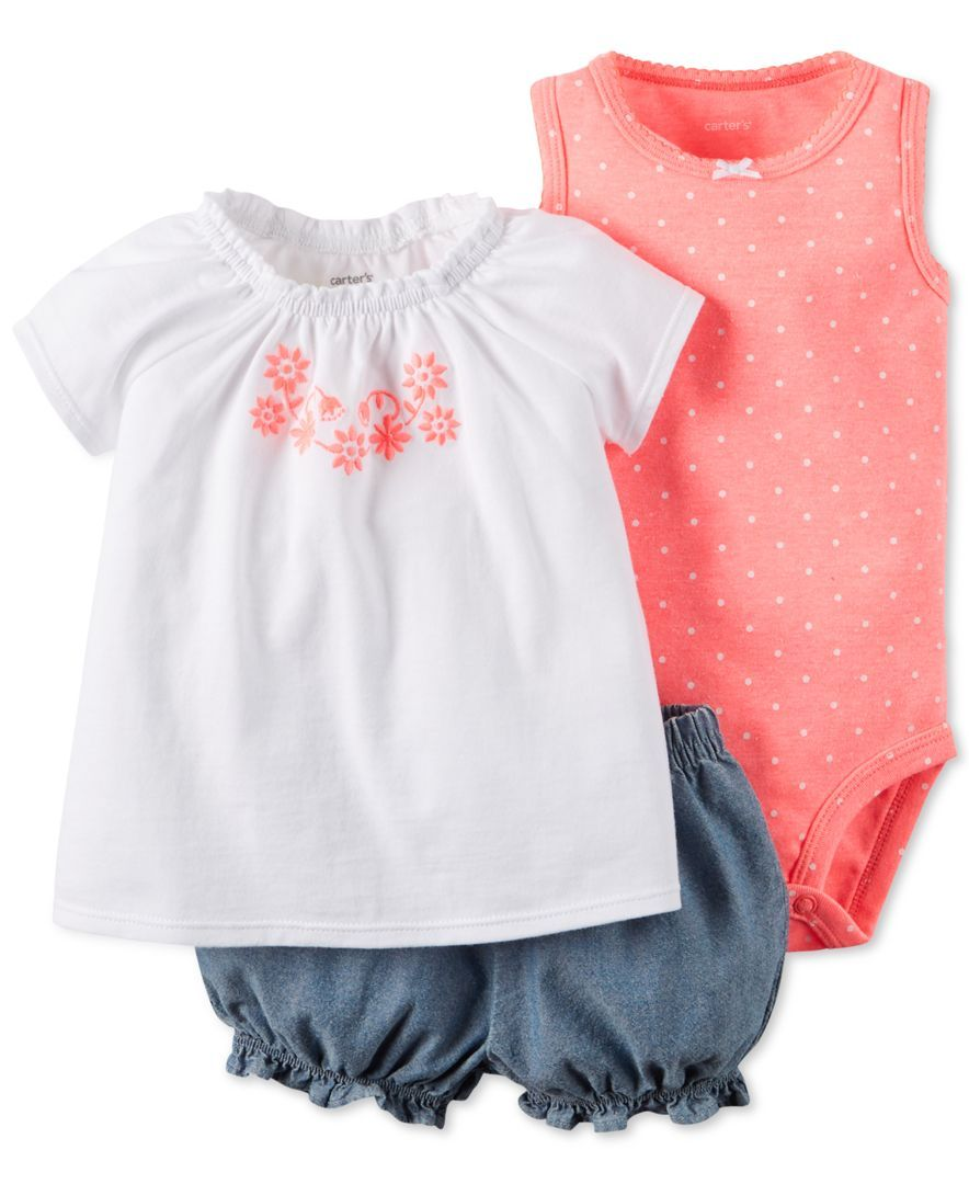0537e25879d18 Carter's Baby Girls' 3-Piece Bodysuit, Top & Shorts Set | Bodysuit ...