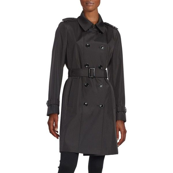 Calvin Klein Petite Button-Front Trench Coat ($144) ❤ liked on Polyvore featuring outerwear, coats, black, petite, long sleeve coat, petite coats, lightweight coat, fur-lined coats and calvin klein coats