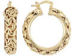 8fd38e6bf5259 Moda Al Massimo(Tm) Byzantine Link 18k Yellow Gold Over Bronze Hoop ...